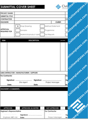 construction submittal cover sheet template