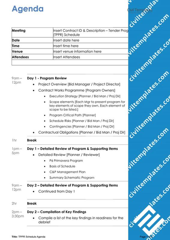 planning scheduling documents