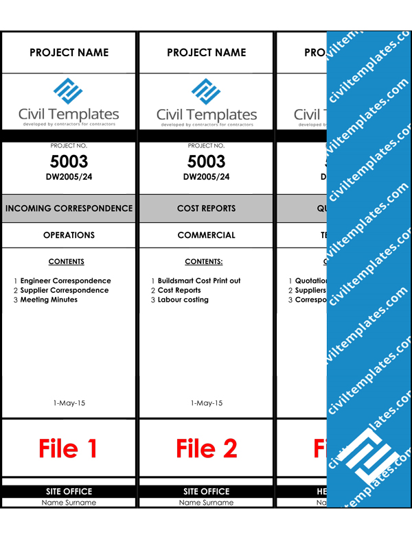 Project management document templates civil engineering for Box file label template word